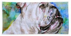 Hand Towel featuring the painting Bulldog - Watercolor Portrait.4 by Fabrizio Cassetta