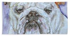 Bath Towel featuring the painting Bulldog - Watercolor Portrait.5 by Fabrizio Cassetta