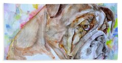 Hand Towel featuring the painting Bulldog - Watercolor Portrait.7 by Fabrizio Cassetta