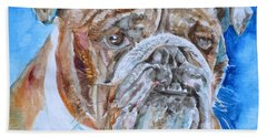 Hand Towel featuring the painting Bulldog - Watercolor Portrait.8 by Fabrizio Cassetta