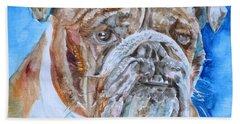 Bath Towel featuring the painting Bulldog - Watercolor Portrait.8 by Fabrizio Cassetta