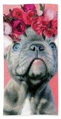 Bulldog With Flowers Hand Towel