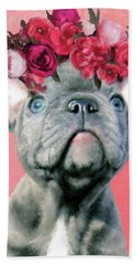 Bulldog With Flowers Bath Towel