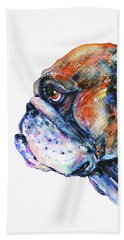 Bath Towel featuring the painting Bulldog by Zaira Dzhaubaeva