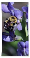 Bumble Bee, Blue Indigo Hand Towel