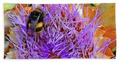 Bumble Bee On Artichoke Flower Hand Towel