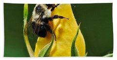 Bumble Bee On Rose  Bath Towel