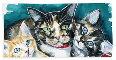Bunch Of Love - Cat Painting Bath Towel