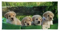 Bundles Of Joy - Labrador Art Hand Towel