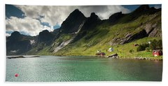 Bunesfjord And Mountains Hand Towel by Aivar Mikko