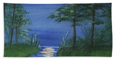 Bath Towel featuring the painting Bunnies In The Garden At Midnight by Denise Fulmer