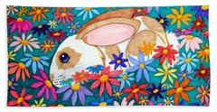 Bunny And Flowers Bath Towel