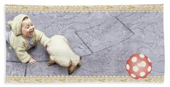 Baby Chases Bunny Hand Towel