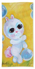 Bunny And The Bubbles Painting For Children Hand Towel