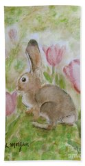 Bunny In The Tulips Hand Towel