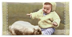 Bunny Nuzzles Baby's Toes Hand Towel