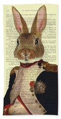 Bunny Portrait Illustration Hand Towel