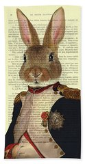Bunny Portrait Illustration Bath Towel