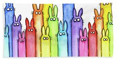 Bunny Rainbow Pattern Bath Towel