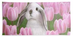 Bunny With Tulips Hand Towel