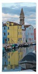 Burano Italian Reflection Bath Towel by Loriannah Hespe