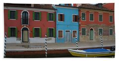 Burano Italy Boat Reflection Hand Towel