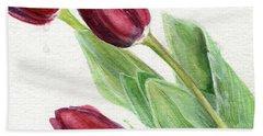 Burgundy Tulips Bath Towel