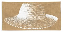 Burlap And White Sun Hat- Art By Linda Woods Bath Towel
