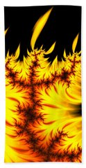 Hand Towel featuring the digital art Burning Fractal Flames Warm Yellow And Orange by Matthias Hauser