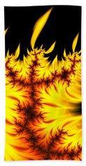 Bath Towel featuring the digital art Burning Fractal Flames Warm Yellow And Orange by Matthias Hauser