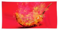 Burning Red Hot Chili Pepper. Mexican Food Bath Towel