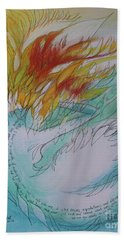 Hand Towel featuring the drawing Burning Thoughts by Marat Essex
