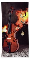 Burning Violin Bath Towel