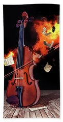 Burning With Music Hand Towel