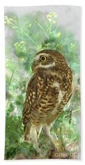 Burrowing Owl In Profile Hand Towel