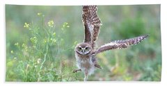 Burrowing Owl Spies Grasshopper Hand Towel