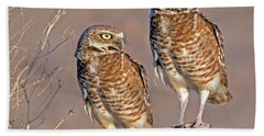 Burrowing Owls At Salton Sea Bath Towel