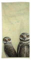 Burrowing Owls Bath Towel by James W Johnson