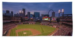 Hand Towel featuring the photograph Busch Stadium St. Louis Cardinals Ball Park Village Twilight #3c by David Haskett