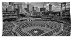 Busch Stadium St. Louis Cardinals Black White Ballpark Village Hand Towel by David Haskett