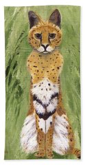 Hand Towel featuring the painting Bush Cat by Jamie Frier