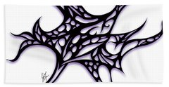Hand Towel featuring the drawing Bushal A Thorns Purple by Jamie Lynn