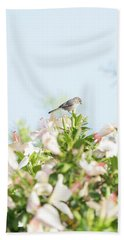Bushtit Atop The Hibiscus Hand Towel