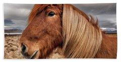 Hand Towel featuring the photograph Bushy Icelandic Horse by Pradeep Raja PRINTS