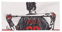 Buster Posey Hand Towel by Jeremiah Colley