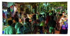 Hand Towel featuring the photograph Busy Chennai India Flower Market by Mike Reid