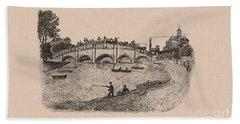 Busy Richmond Bridge And Fishermen Hand Towel