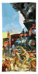 Butch Cassidy And The Sundance Kid Hold Up A Union Pacific Railroad Train Bath Towel