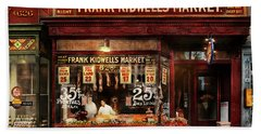 Butcher - Meat Priced Right 1916 Bath Towel by Mike Savad