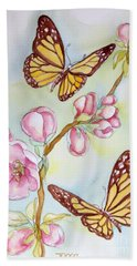 Butterflies And Apple Blossoms Bath Towel by Inese Poga